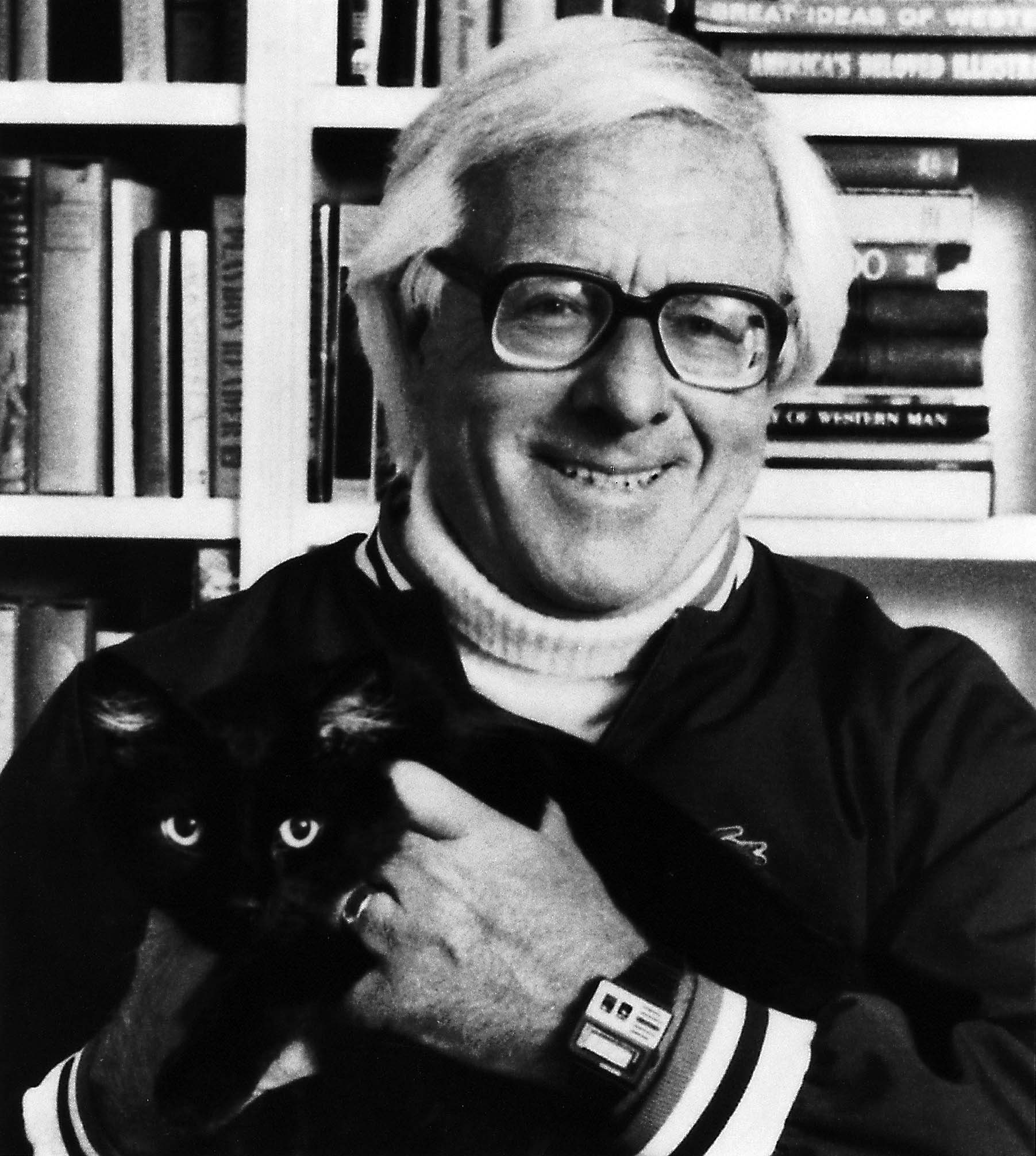 Ray Bradbury Hold a Black Cat